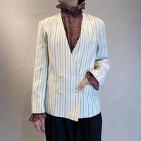 Christian Dior stripe no- collar jacket