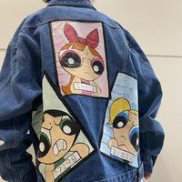 """90s~ """"THE POWERPUFF  GIRLS"""" painted denim jacket"""
