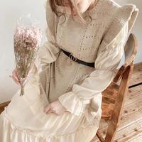 frill long knit vest
