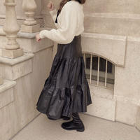 leather tiered skirt