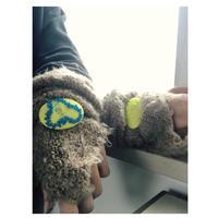 手刺繍◉蛍光 アメーバドット ヘアゴム