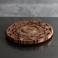 古道具部 木彫りのレリーフ台 Ф295