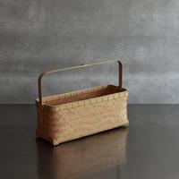 竹編みの波網代手付き籠