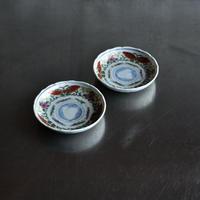 古道具部 色絵小皿 牡丹に蝶 2枚セット