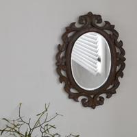古道具部 アカンサスモチーフ木彫りの鏡