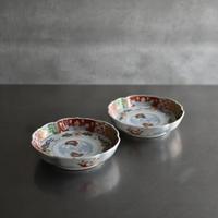 古道具部 色絵輪花皿 2枚セット