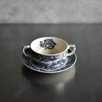 古道具部 青の花柄スープカップ・ソーサーセット