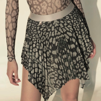 [Just A Corpse] ANIMALISTIC PLEATED SHORT SKIRT - BLACK LEOPARDESS