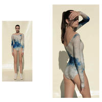 [Just A Corpse・予約商品] CRYSTAL LIGHT LEOTARD WITH LONG SLEEVES - BLUE