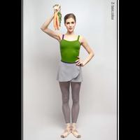 [予約商品・Zi dancewear] Gray wrap chiffon skirt with contrast violet ribbon・S丈