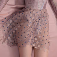 [Just A Corpse・予約商品] JUMBO POLKA-TULLE – blue/nude short square skirt 192SK02PS