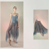 [Just A Corpse] POLKA-TULLE – long square skirt (blush / blue / nude / black)