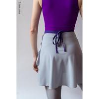 [Zi dancewear] Gray wrap chiffon skirt with contrast violet ribbon・M丈
