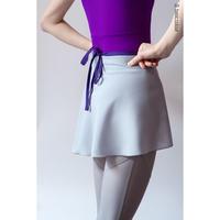 [Zi dancewear] Gray wrap chiffon skirt with contrast violet ribbon・S丈