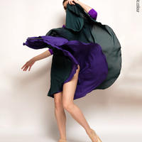 [Zidans] Emerald + violet two-sided rehearsal skirt