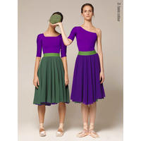 [Zidans] Herbal + Violet two-sided rehearsal skirt with elasticated waist