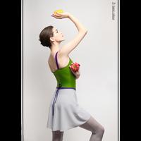 [予約商品・Zi dancewear] Gray wrap chiffon skirt with contrast violet ribbon・M丈
