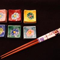 山茶花角型箸置き揃え(6個セット)