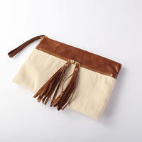 silk×leather clutch bag