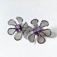 【Bijou/ビジュ】Vintage Flower piece,earring  (ビンテージフラワーピアス/イヤリング)silver/gold