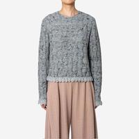 【Greed International グリードインターナショナル】Mix Seed StitchShort Slit Sweater  (ショートセーター)-grey