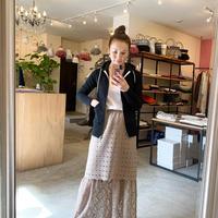 【Greed International グリードインターナショナル】Floral Geometric Chemical Lace Skirt (レーススカート)Beige