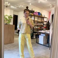 【Greed International グリードインターナショナル】Splash Jacquard Half Sleeve Big Blouse-beige