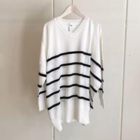【siro de labonte シロ】V neck big pullover  (Vネックビッグプルオーバー)white/black -R113103B