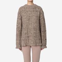 【Greed International グリードインターナショナル】Mix Seed Stitch Long Slit Sweater  (ロングスリットセーター)-brown
