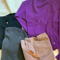 【mieyamieya ミエヤミエヤ】cashmere 100% cardigan  (カシミヤカーディガン)purple/brown/chgrey/black