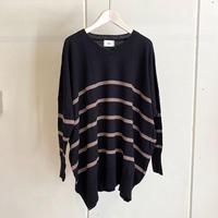 【siro de labonte シロ】V neck big pullover  (Vネックビッグプルオーバー)black/beige -R113103B