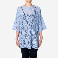 【Bed&Breakfast ベッド&ブレイクファースト】Floral Stretch Lace Shor Sleeve Tee (フローラルストレッチレースティー)Blue