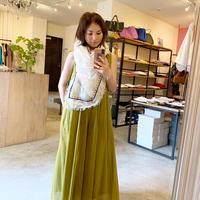 【CLOCHE クロシェ】cotton onepiece (コットンワンピース)yellow/beige/green