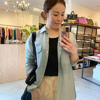 【Bed&BREAKFAST ベッド&ブレイクファースト】Sheer Striped Crepe Shirt in Green