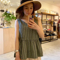 【Greed Internationalグリードインターナショナル】Dobby Stripes Waist Gathered Sleeveless