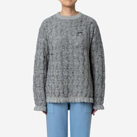 【Greed International グリードインターナショナル】Mix Seed Stitch Long Slit Sweater  (ロングスリットセーター)-grey
