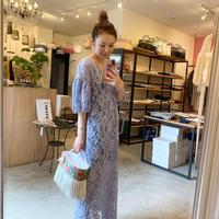 【Bed&Breakfast ベッド&ブレイクファースト】Floral Stretch Lace Dress (フローラルストレッチレースドレス)Blue