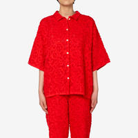 【Greed International グリードインターナショナル】Original Flower Cut JQ Shirt in Red