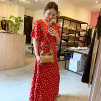 【Bed&BREAKFAST ベッド&ブレイクファースト】Summer Fower Jacquard Onepiece  -red