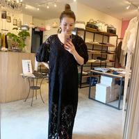 【Bed&Breakfast ベッド&ブレイクファースト】Floral Stretch Lace Dress (フローラルストレッチレースドレス)Black