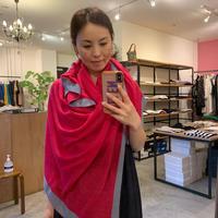 【mieyamieya ミエヤミエヤ】cashmere stole (カシミヤストール)bordeaux/ bluegreen/pink