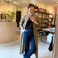 【CLOCHE クロシェ】long cardigan(ロングカーディガン)black/kaki