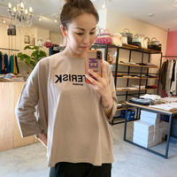 【siro シロ】フロッキープリントロンTee  brown/white