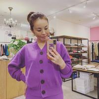 【Banner Barrett バナーバレット】knit cardigan  (ニットカーディガン) purple/black