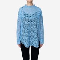 【Greed International グリードインターナショナル】Floral Geometric Chemical Lace Moc Neck  Blouse (モックネックブラウス)Blue