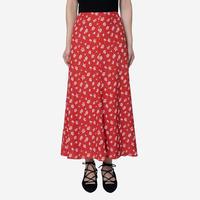 【Bed&BREAKFAST ベッド&ブレイクファースト】Summer Fower Jacquard Skirt  -red