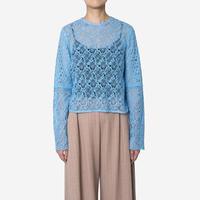 【Greed International グリードインターナショナル】Floral Geometric Chemical Lace Short Blouse (ショートブラウス)Blue