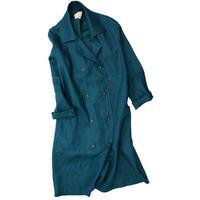 No.247co(blue) リネンWボタンコート/ブルーグリーン