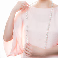 授乳ストラップ/授乳ネックレス コットンパール 長さ100cm (パールサイズ 8mm)