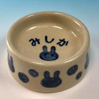 【R106】うさぎ水玉模様のうさぎ様用食器・Sサイズ(呉須・透明秞・名入れ・うさぎ印)